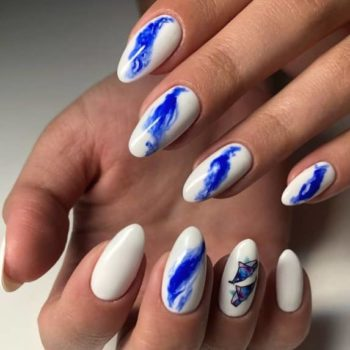 фото Акварель на ногтях в студии маникюра